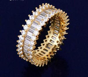 Zircon Men's Ring Copper Material Charm Gold Silver Color Cubic Zircon Iced RING Fashion Hip Hop Jewelry