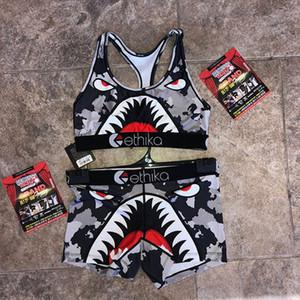 em forma de I mulheres Swimsuit Vest Push Up Bra Shorts 2 Piece Set Swimwear Sexy Bikini manta tubarão Patchwork Praia fatos de banho Tankini A3212