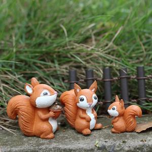 6pcs / lot écureuil animal Figurine miniature Ornement bricolage Micro Paysage Jardin féerique Petit modèle Home Décor