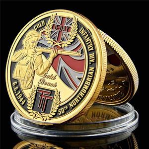 L'oro Uk Army sfida Coin 50 ° Fanteria Northumberland 1 oncia placcato Collezione Military sfida Coin