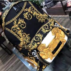 New arrivel Derigner Marca Medusa Impresso ouro Backpack Leão com bolso com zíper saco de Moda grande ombro curso capacidade Bag
