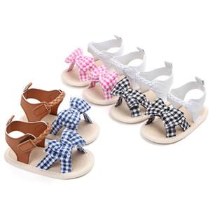 Zapatos de las sandalias del verano de los bebés recién nacidos Bebé de las muchachas del enrejado Zapatos de la princesa del Bowknot Suela suave Niño Sandalias antideslizantes