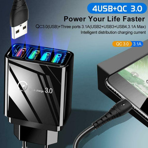 2020 New Smart Charger 4USB QC3.0 Fast Charge Hub Wall Charger Adapter Mobile Travel Fast Charger Suitable for Apple and Huawei smartphones