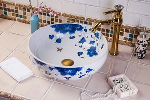 Blue and white chinese Jingdezhen Art Counter Top ceramic custom made wash basin