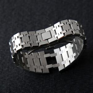 gravür T200113 ile En Watchband 21mm 26mm Erkekler kadınların Tam Paslanmaz Çelik İzle Band bilezik için AP Royal Oak askısı katlanır toka