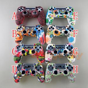 Tarnung Fall Graffiti verzierte Punkte Silikon-Gummi-Gel-Haut für Sony PS4 Slim / Pro-Controller Hülle für Dualshock4
