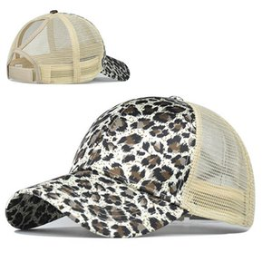 Leopard Print Ponytail Baseball Caps Sequins Shining High Quality Fashion Womens Mesh Adjustable Snapback Party Hat 30pcs IIA184