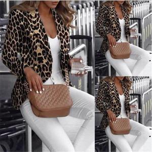 Coats İnce Baskılı Moda Kadın Apperrel Leopar Kadın Tasarımcı Blazer Yaka Boyun Hırka Bayan Ceket