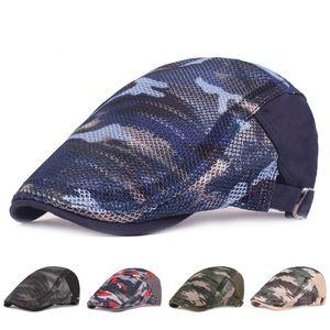 Hommes / Femmes Design De Mode Béret Chapeaux Été En Plein Air Respirant Camouflage Maille Chapeau D'été Bavoir Béret Ivy Cap Cabbie Casquette