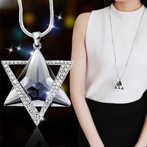 Mode Six Star Stern-Anhänger lange Halskette Frauen Lange hängende Halsketten-Strickjacke-Kette