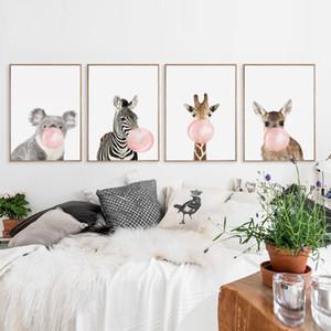 버블 씹는 껌 기린 얼룩말 동물의 포스터 캔버스 아트 페인팅 벽의 미술 보육 장식의 그림 노르딕 스타일의 키즈 데코