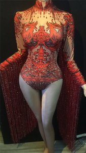 Rhinestone Bodysuit mulheres vestido de borlas strass Dança Costume 4 cores desfile Evening Outfit Cristal Jumpsuit