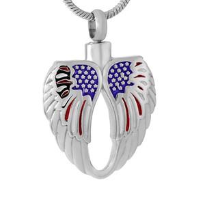 Asas Angel Heart Pena com bandeira americana cremação Pendant Jewelry for Human Ashes Urn Titular da lembrança Colar urna de cremação Jóias