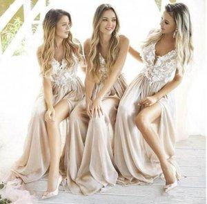 2019 Hermosa gasa de encaje Una línea Dama de honor Vestidos V Cuello Appliques Lado Split División Larga Boda Boho Noche Vestidos de Prom Custom Hecho