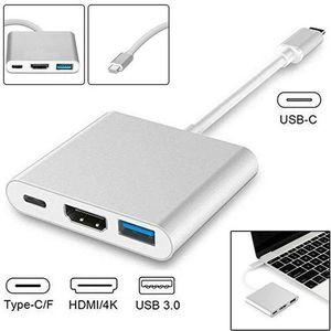 3 em 1 Type-C USB 3.1 macho para HDMI / USB 3.0 / Tipo C Feminino Conversor Digital Cable Multiport Adapter Para Macbook