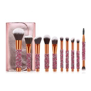 wholesale The newest 10pcs sparkling diamond makeup brush with bag concealer brush eyeshadow brush beauty tools 50set