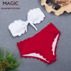 New White Bandeau Bikini Set Сплит Сексуальные милые две части Купальник Пляж Купальники Женщины Красный Высокий Талией Купальник Пляж Бикини ГГХУП