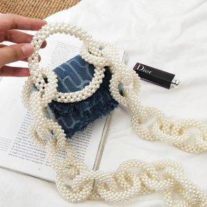 style women shoulder bags casual bag Pearl strap Denim flap handbag