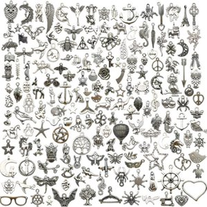 MIC 100pcs Antique silver Zinc Alloy Lovely Mixed Charms Pendants DIY Jewelry Making For Bracelets Necklace Earrings