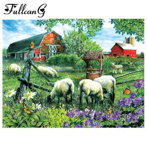 Ev tam kare mozaik elmas nakış kitleri G818 için FULLCANG 5d diy elmas boyama koyun çiftlik hayvanları ev dekorasyonu