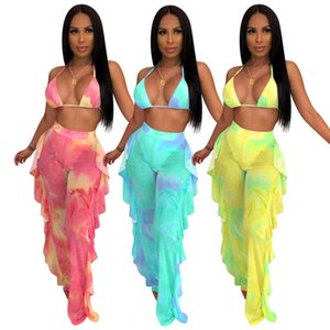 2019 Women Two Piece Pants Tie Dye PINK Outfits Galaxy Print Mesh Bikini Swimsuit See Though Halter Bra Top Ruffles Splicing Pants Tracksuit
