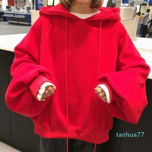 Fashion-Women's Loose Lantern Sleeve Hooded Sweatshirts 2019 Autumn Fashion Female Tops Casual Oversize Solid Pullover Ladies Hoodies