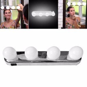 4 LED 전구 휴대용 스튜디오 메이크업 라이트 슈퍼 밝은 화장품 거울 라이트 키트 배터리 전원 메이크업 라이트 무료 배송