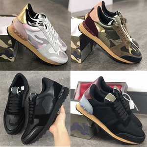 New Rockrunner Camouflage Sneakers Mens Studded Leather Rocha Runner sapatos femininos Flats Trainers Moda Malha Sapatos de couro Tamanho 35-45