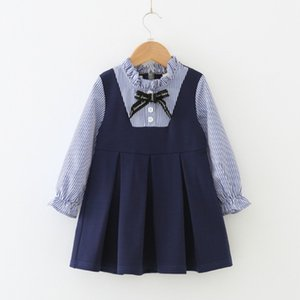 2019 Ins Vêtements pour enfants style preppy Sweet Girls Robe rayée à manches longues Bébés filles Jolie Bow Princess Dress
