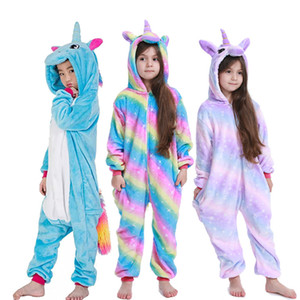 Kigurumi Onesie Kids Unicorn Pajamas For Children Animal Cartoon Blanket Sleepers Baby Costume Winter Boy Girl Licorne Jumspuit Y200704