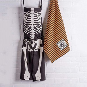 Cotton Halloween Holiday Kitchen Apron with Extra Long Ties, 21.3 x 31.5 inch, Men and Women Apron for Cooking, Baking, Crafting