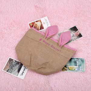 Hot Easter Burlap Gift Bag Children Candy Gift Basket Bunny Ears Jute Storage Bags For Home Party Decor Easter Egg Bag