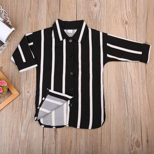 Yenidoğan Bebek Kız Çizgili Uzun Kollu T-shirt Çizgili Gömlek Elbiseler Rahat Giysiler Kıyafetler Set Yeni Moda Tops