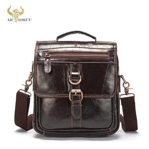 """Original Leather Male Fashion Casual Tote Messenger bag Design Satchel Crossbody One Shoulder bag 9.8"""" Tablet Case For Men 039"""