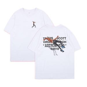 Travis Scott AstroWorld bolsillo de la camiseta de los hombres del verano del estilo mujeres de manga corta blanca Casual Tee camisetas unisex monopatín camisetas TXI0403