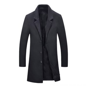 Dihope Fashion Mens Wool Coat Winter Warm Solid Color Long Trench Jacket Male Single Men's Outerwear & Coats Men's Clothing Breasted Busines