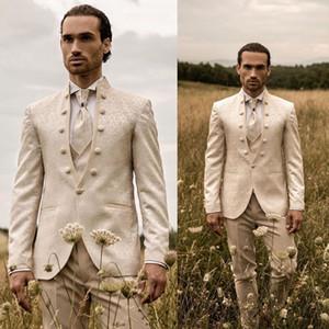 3 Pieces Beige Mens Suits With Print Brand Fashion Mens Floral Blazer Designs Mens Paisley Blazer Slim Fit Suit Jacket Men Wedding Tuxedos