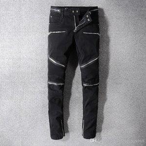 New Arrival Mens Zipper Biker Jeans Black Jeans Skinny Ripped Destroyed Stretch Slim Fit Hip Hop Denim Pants Holes Trousers