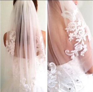 Suave tul Nuevo diamante de la llegada hasta la cintura velo corto del dedo velo de novia Accesorios de novia con el peine gasa mariage