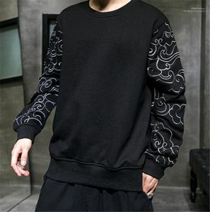 Moda suelta bordado manga con paneles para hombre diseñador sudaderas con capucha Casual para hombre ropa estilo chino para hombre diseñador sudaderas con capucha