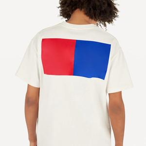 19SS monograma Letra geométrica Impreso Forme la camiseta transpirable verano tee simple ocasional de los hombres de las mujeres de la calle de manga corta