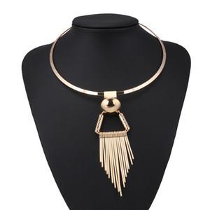 Punk Big Opulente Halskette Streifen Geometric Triangle Tassel hängende Halsketten für Frauen Nachtclub Partei Schmuck Geschenk Bijuterias Colar