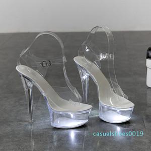 Light Up Glowing Shoes Woman Luminous Clear Sandals Women Platform Shoes Clear High Heel Transparent Stripper Wedding Shoes c19