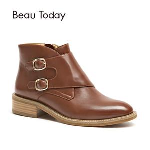 BeauToday Bilek Boots Kadınlar Toka Top Quality Orijinal İnek Deri Fermuar Kapatma Moda Lady Ayakkabı 03257