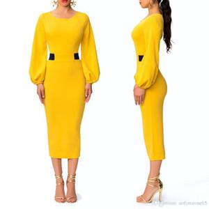 Neue Frauen-elegante süße Farben Vintage-Kleider Mode Rundhalsausschnitt Damen Panelled Spalte Kleider Designer Laterne Hülsen-Kleider
