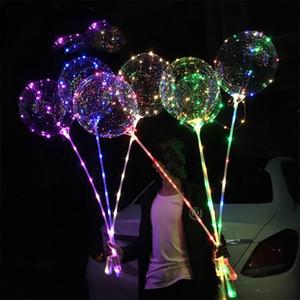 2019 LED Ballon Lumineux Transparent Lumineux Ballon Clignotant Avec Pôle Bâton pour la Fête De Mariage Décorations De Fête Pompe Cadeau