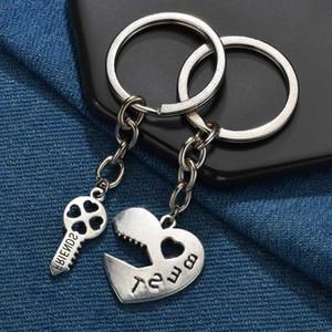 2 Stück Puzzle Keychain Paare Keychain Defektes Herz Tai Chi-Liebhaber BBF nette Schlüsselring-Halter-Liebes-Herz-Beste-Freunde-Geschenk-Schmucksachen