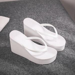 낮은 슬리퍼 여성 여름 신발 여성 2020에 쐐기 고무 플립 플롭 굽 노새 사탕 색상 플랫폼 셰일 여자 비치