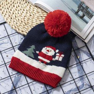 어린이 뜨개질 크리스마스 모자 스트라이프 크리스마스 트리 패턴 따뜻한 모자 겨울 야외 아기 스키 아이 폼은 폼은 비니 LJJA3533 캡