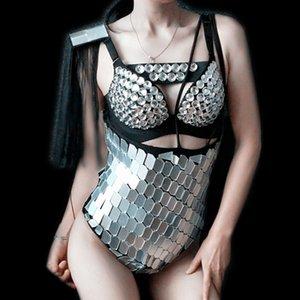 Femmes Danse Costume Argent DJ DS Bodysuit Gogo Mirror Costume Pour les chanteurs Afficher Costumes de danse Stage Porter Festival de la tenue SL2469